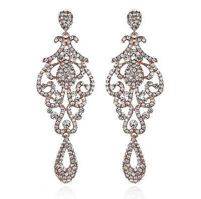 Pageant Austrian Crystal Rhinestone Chandelier Dangle Earrings E2090R Rose -