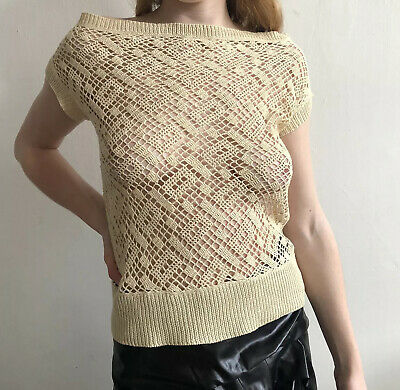 YOHJI YAMAMOTO Y's Ivory Loose Summer Knit Short Sleeve Top