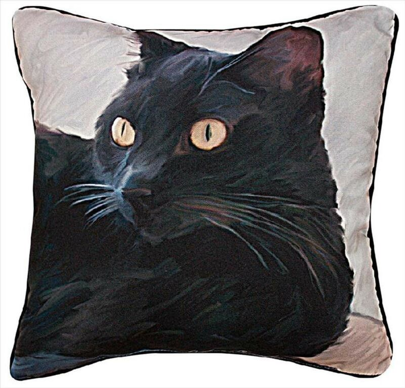"PILLOWS  - BLACK CAT THROW PILLOW - 18"" SQUARE"