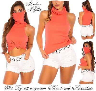 NEUHEIT 34 36 38 XS-S-M Cotton Shirt m.Mund- und Nasenschutz Maske Coralle Italy
