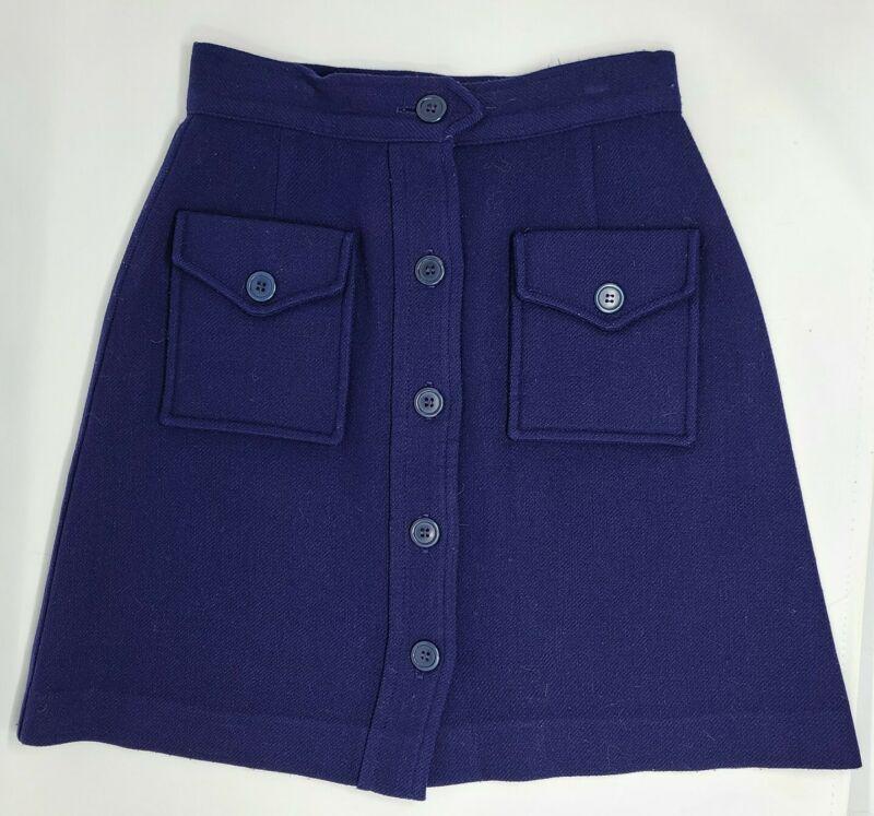 Vintage 60s Bobbie Brooks Wool Mini Skirt Size 7 School Girl Blue button front