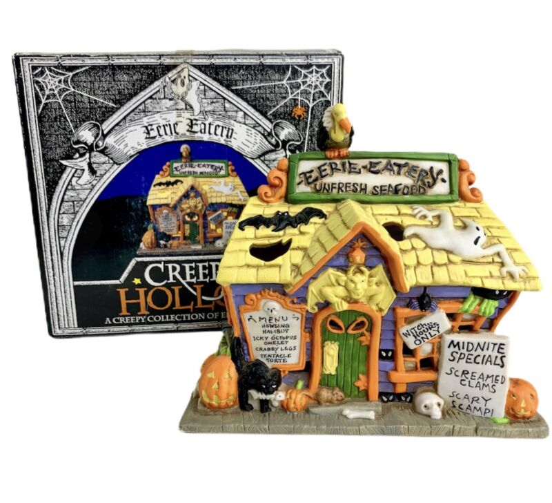 CREEPY HOLLOW 1998 EERIE EATERY HAND PAINTED LIGHTED PORCELAIN EERIE ESTATE