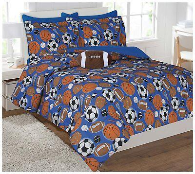 Fancy Linen 8pc Full Comforter Set Sport Football Basketball Baseball Soccer New ()