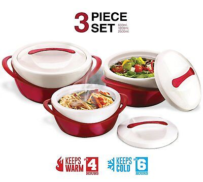 Casserole Dish Insulated Soup and Salad Serving Bowl Set With Lids 3 Pc (Soup Salad Bowl)