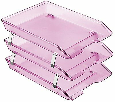 Acrimet Facility 3 Tiers Triple Letter Tray Frontal Clear Pink Color