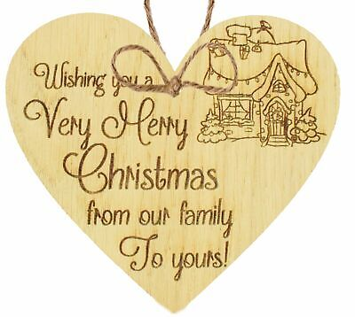 UK Handmade Oak Wooden Heart Christmas Gift For Friend Family Neighbour Keepsake ()