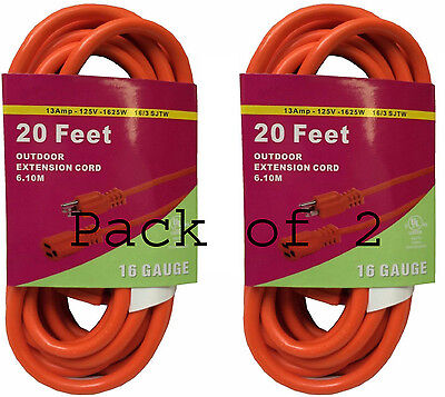 Heavy-duty-20 Amp (2X Heavy Duty 20'FT Bright Orange Grounded Extension Cord 16 Gauge 13AMP )