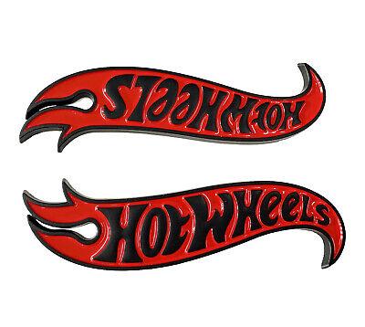 2x New HotWheels Logo Side Fender Hood Badge Decal Emblem Hot Wheels Red Black