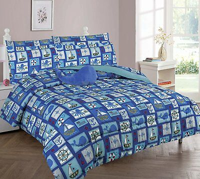 8pc Sailor Octopus Whale Anchor Full Comforter Youth Bedding Set Bed Youth