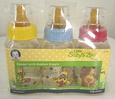 Gerber Little Suzy's Zoo Nurser 5-oz Baby Bottles With Rubber Nipple 3-pack