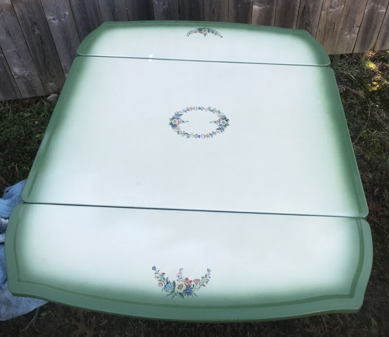 Vintage Enamel Porcelain Top Table W/pull leaves  Farmhouse Green Beige Flowered