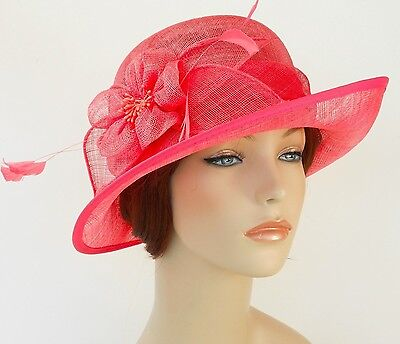 New Woman Church Derby Wedding Sinamay Ascot Dress Hat  DR-04 Coral
