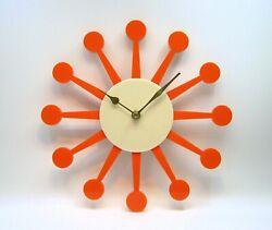 Vintage 1950's Homemade wall clock atomic starburst clock orange