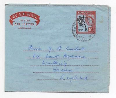 1960's JAMAICA QEII Aerogramme Cover PORT MARIA to WORTHING GB Stationery