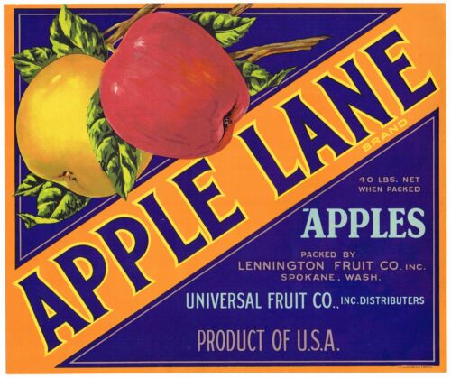 ORIGINAL APPLE LANE CRATE LABEL WASHINGTON 1950S LENNINGTON SPOKANE UNIVERSAL