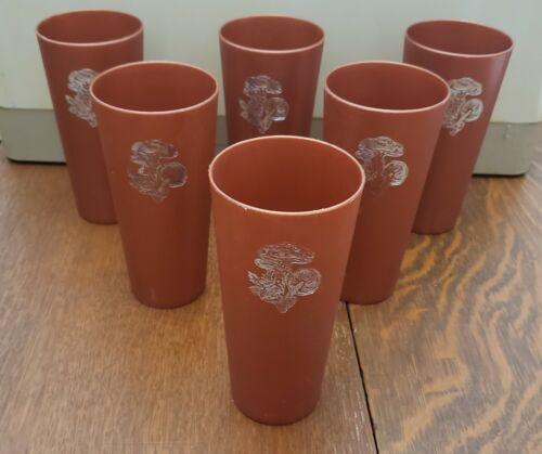 Vintage Plastic Napco Merry Mushroom Tumblers Cups Retro Groovy 1970s
