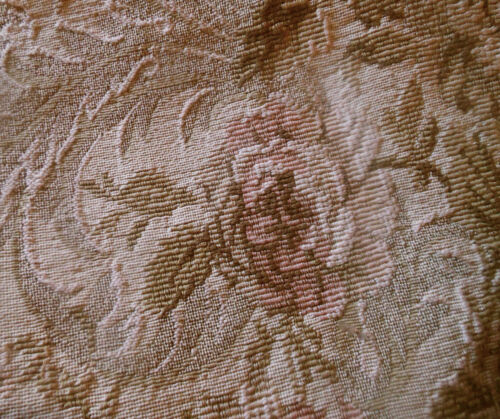 Antique French Shabby Roses Tapestry Jacquard Cotton Fabric ~ Blush Rose Olive