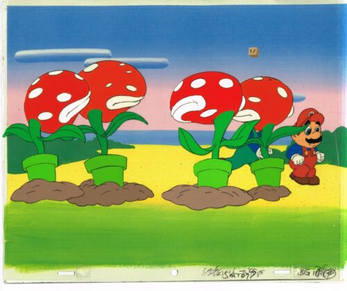 Super Mario World Animation Cel Dic Nintendo Mario Luigi Plants 1991 Copy BG