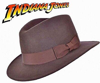Indiana Jones Style 100% Wollfilz Fedora Braun Hut Knautschfähig Wasserabweisend - Wasserabweisend Fedora-hut