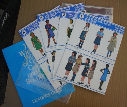 8 Vintage Girl Scouts / Brownies Uniform Posters Worldwide International + Book