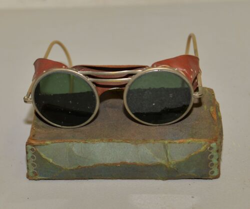 Antique Green welding glasses motorcycle steampunk leather shield collectible