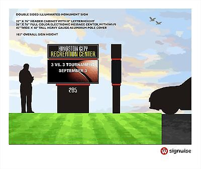 Custom Pylon Monument Sign With Full Color Electronic Message Center With Wi-fi