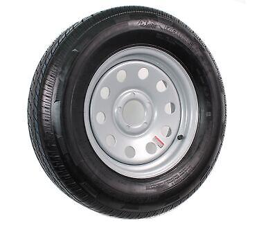 Radial Trailer Tire On Rim ST205/75R15 Load C 5 Lug Silver Modular Wheel