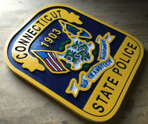 Connecticut State Police 3D Routed  Wood Patch Sign plaque Custom