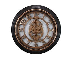 Kiera Grace Gears Wall Clock 20-Inch 2-Inch Deep Bronze Finish