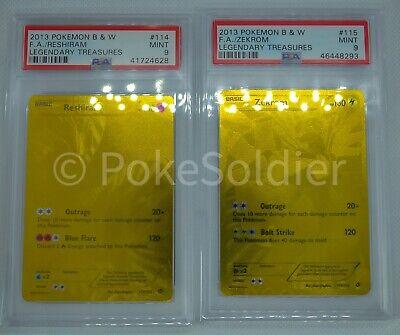 2013 POKEMON Black & White Zekrom & Reshiram #114&115 Secret Rare Gold Cards.