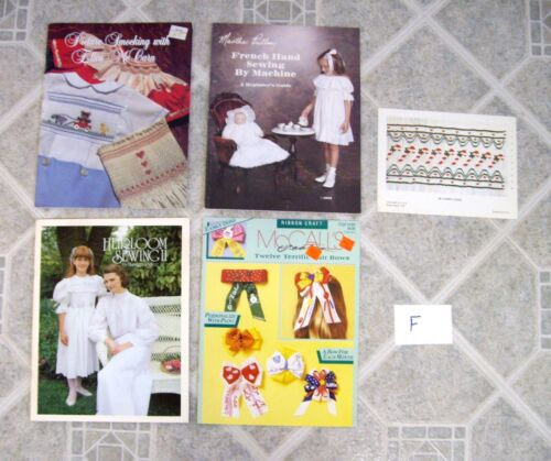 Lot F – 4 Smocking / Heirloom Sewing  / Hairbow Books - McCarn / Pullen / Pierce