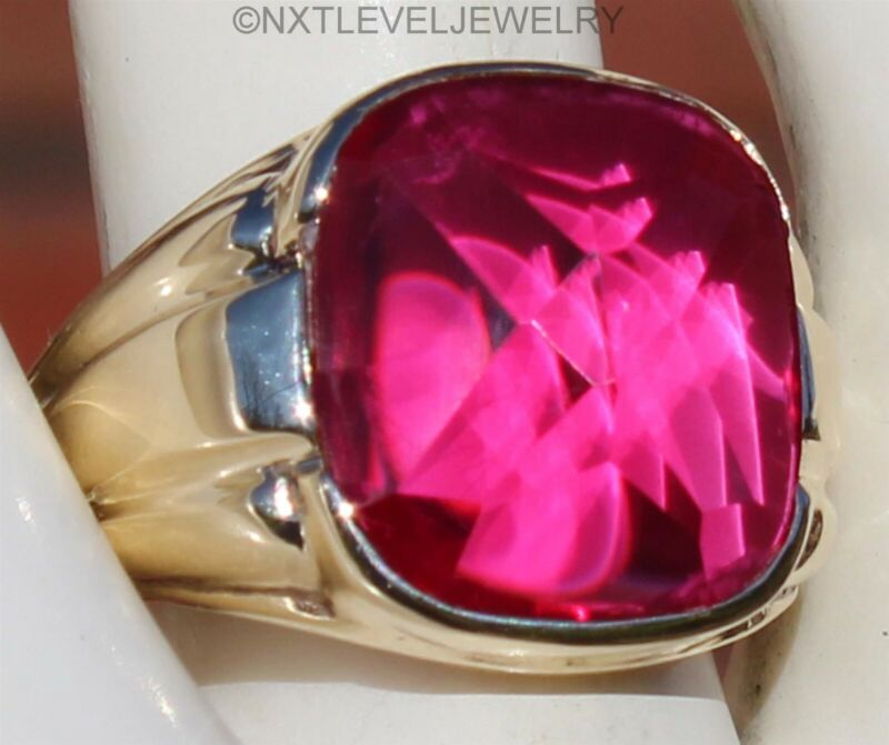 Antique SIGNED Art Deco LARGE Cushion Cut Ruby 10k Solid Yellow Gold Men