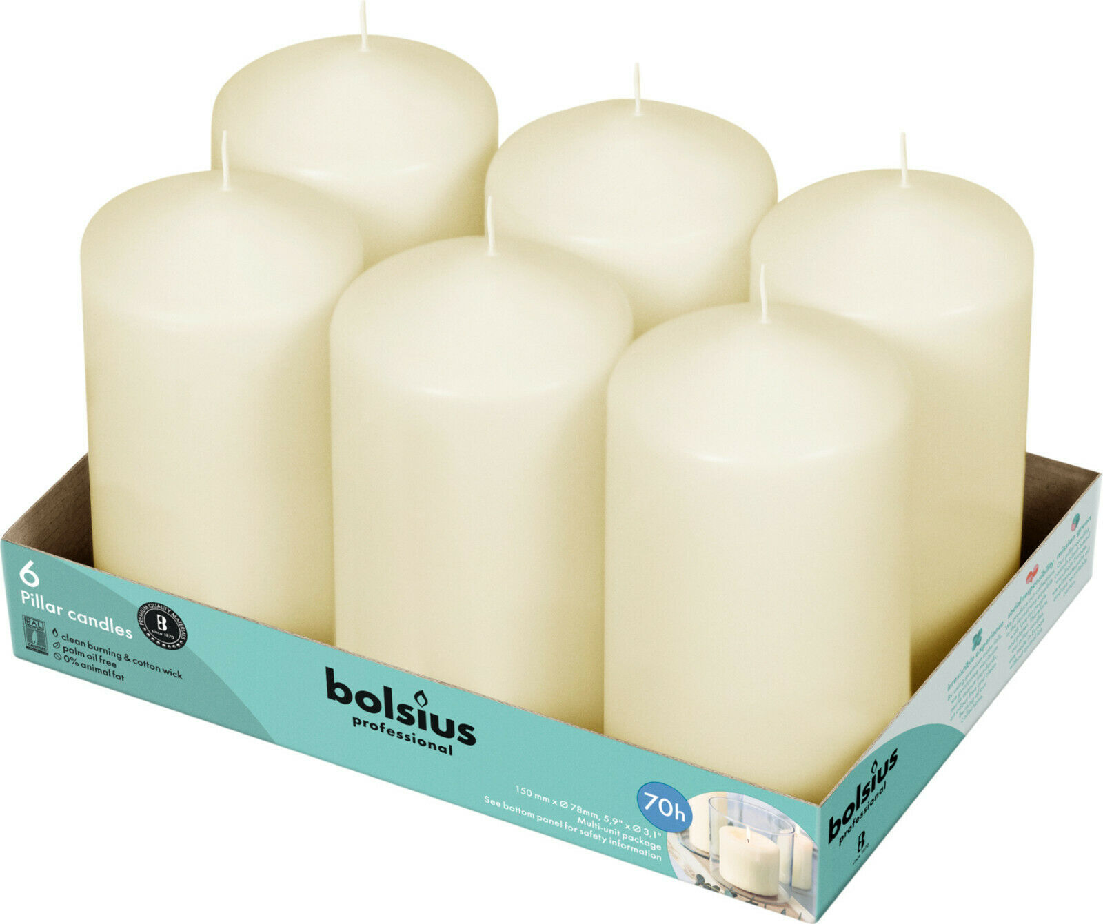 """Ivory Pillar Candles 3x6"""" Unscented 6 Pack for Wedding Dinne"""