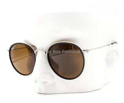 Ray-Ban RB 3517 019/N6 Folding Sunglasses Silver & Black Polarized Please (Ray Ban Round Folding)