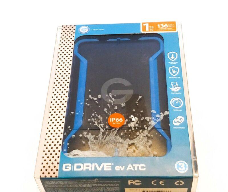 G-Technology G-DRIVE ev ATC 1TB External USB 3.0 / Serial ATA Portable Hard Drive Black/Blue 0G03614