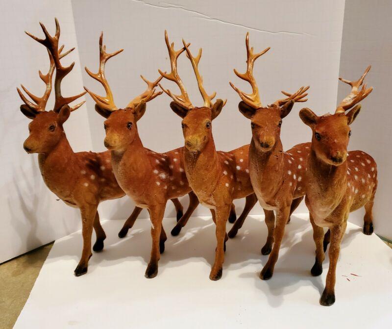 """Lot of 5 Deer Buck Flocked 10"""" Tall w/ Antlers  as is"""