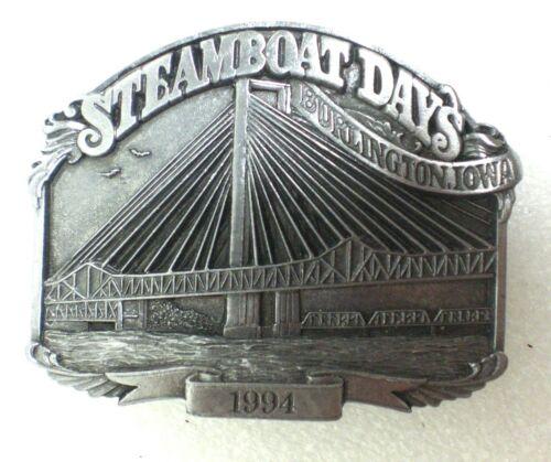 1994 Steamboat Days Burlington Iowa Crapo Park Pewter Belt Buckle   # 83/1000
