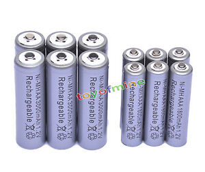 6-AA-3000mAh-6-AAA-1800mAh-1-2V-NI-MH-Rechargeable-Battery-2A-3A-Grey-Cell