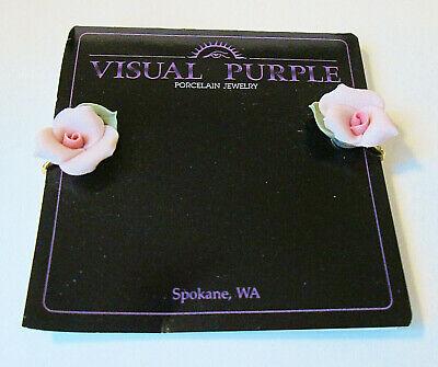 VISUAL PURPLE Hand Formed Porcelain Rose Clip On Earrings 1992 On original Card