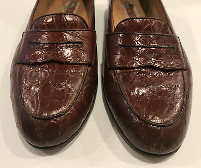 HANDMADE a.testoni Mahogany Brown Alligator Leather Shoes Loafers Size 8 ITALY