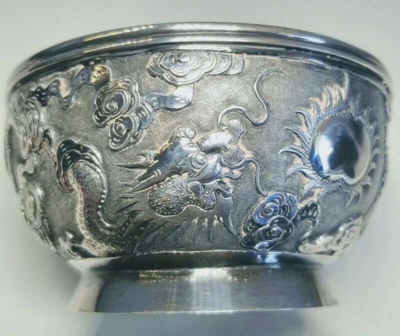 Very Fine Chinese Silver Chased And Repousse Dual Dragons Bowl