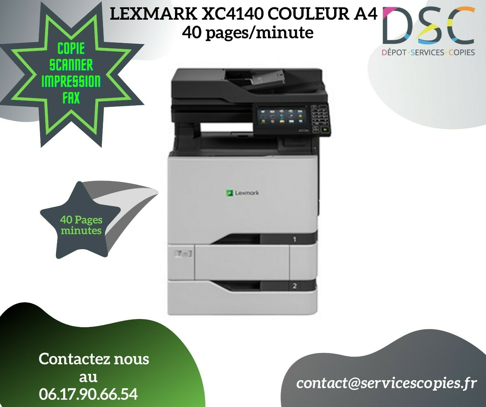 Multifonction  40 pages/minute lexmark xc4140 couleur  a4  comme neuf
