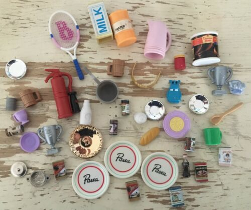 Miniatures Dollhouse Barbie Small Toys Food, Dishes Other Items 43 Pieces