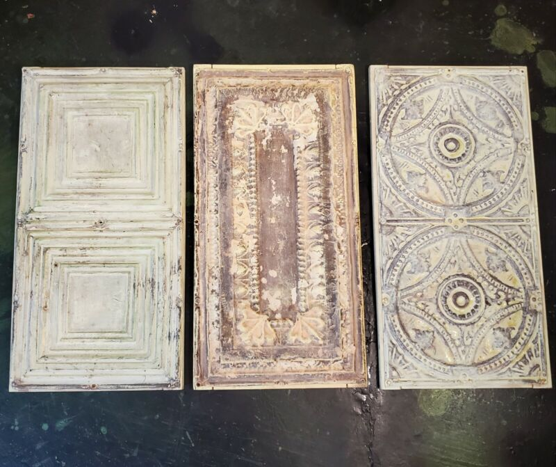 """Lot 3 Large Antique Victorian Ceiling Tin Wall Art Reclaimed 12.5"""" x 24.5"""""""