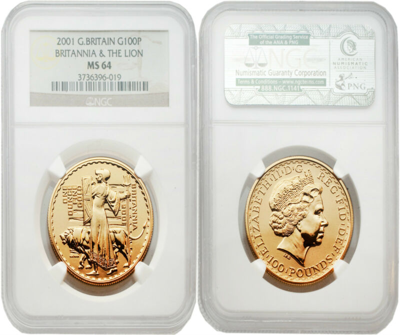 Great Britain 2001 Britannia-Una and the Lion 100 Pounds 1 oz Gold NGC MS64