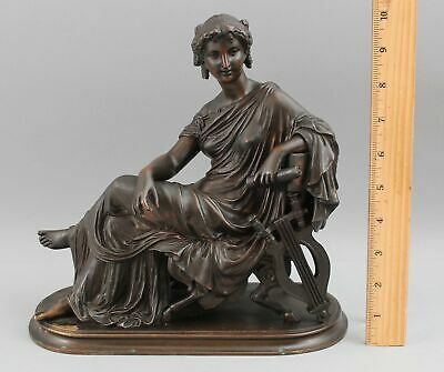 Antique 19thC Signed Marcel Debut Bronze Classical Lady Music Harp Sculpture, NR