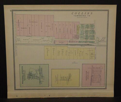 Ohio Huron County Map Collins 1891  !Y14#65