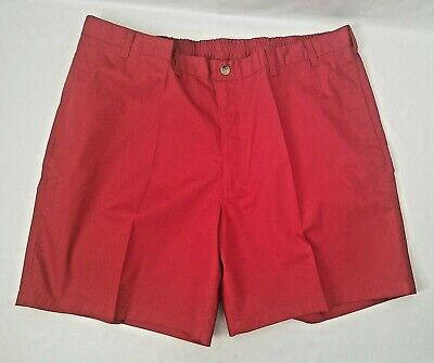 NEW HABAND Mens Poplin Shorts 03J Red Stretch Waist Flat Front 4 Pockets Sz 46