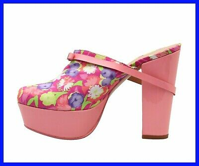 NEW VERSACE VERSUS PINK PATENT LEATHER FLORAL PRINT PLATFORM SABOT SHOES 37 - 7