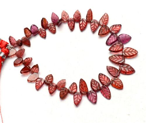 """Natural Gem Rhodolite Garnet 6x4 to 9x6mm Carved Leaf Shape Beads Strand 7"""""""